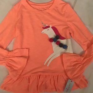 Cat & Jack Peach Unicorn Top Medium 7/8 Girls NWT